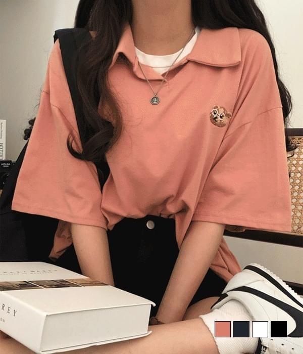 Glasses bear embroidered collar short sleeve T-shirt 短袖上衣