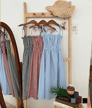 Refreshing Check Banding Bustier Long Dress