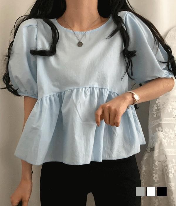 mayo puff flare short sleeve blouse