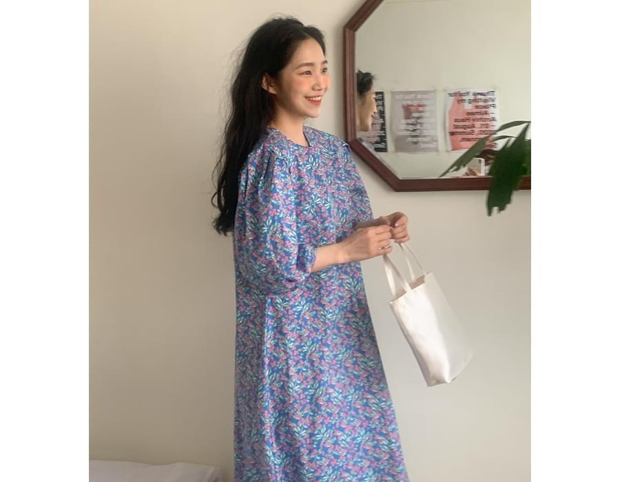 Blooming Puff Cotton Long Dress