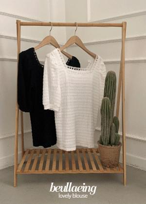 Blazing puff square-neck lace blouse