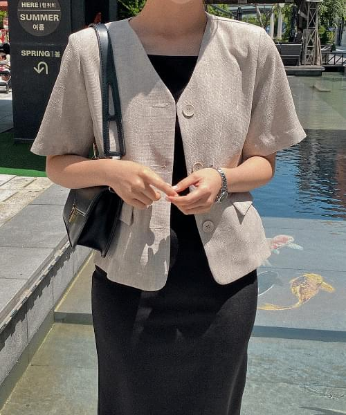 Mobis no-collar jacket - 2color