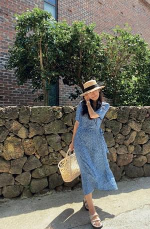 MMMM/ Blue Flower Robe Wrap Dress