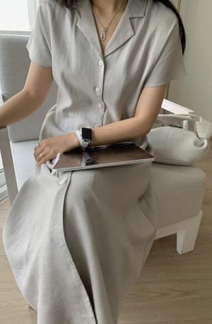 MMMM/ Viscose Linen Button Dress