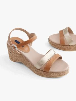 Color matching line wedge strap sandals 7cm