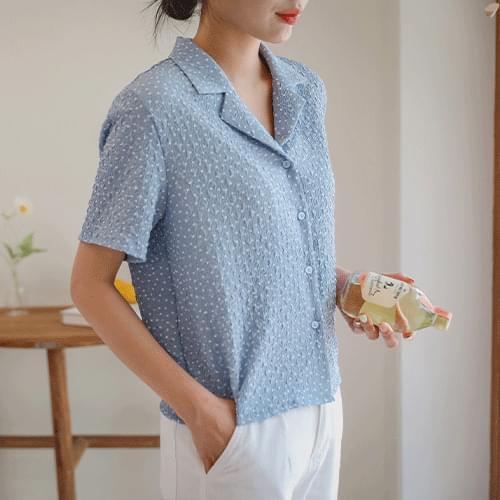 sherbet dot short sleeve blouse