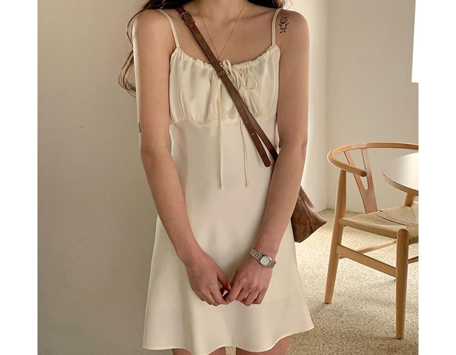 Satin shirring mini Dress