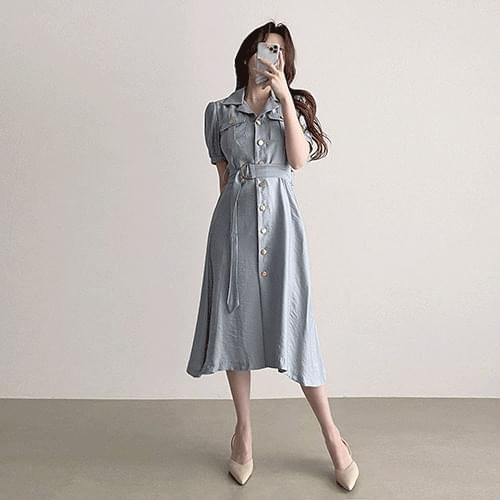 Short sleeve puff belt flare long Dress 2color