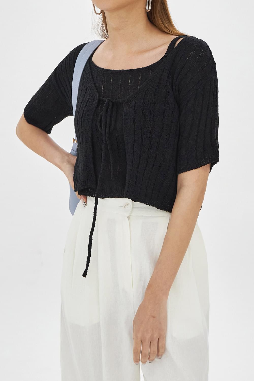 Short sleeve boucle set-Cardigan