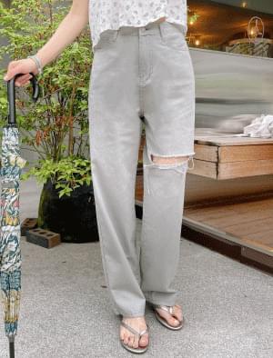 feed damage wide pants