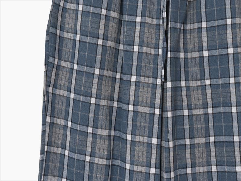 첵스린넨 와이드 팬츠 (린넨혼방 하이웨스트 밴딩 체크 트레이닝 운동 바지 잠옷 홈콕 원마일룩 블루/블랙)