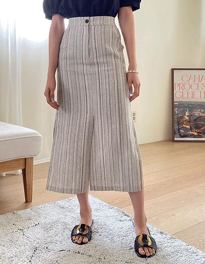 Mute Linen Slit Banding Skirt
