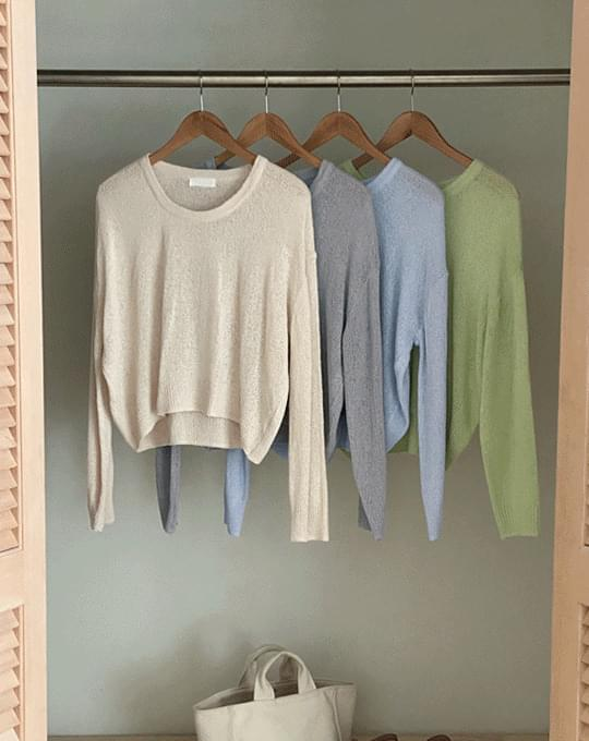 Anzu Bookle You-Neck Knitwear - 4 color