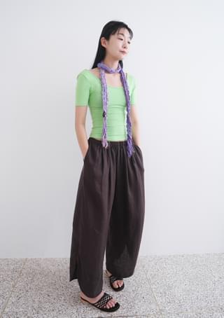 linen rounding slit pants