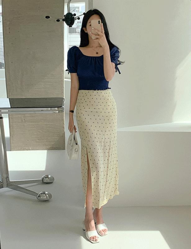 rotain small flower slit long skirt