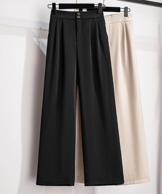 Big size 28-46 inch double shirring wide slacks