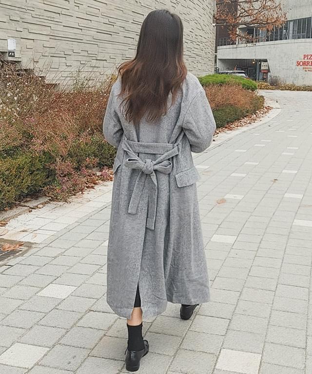 Big 55-77 Wool 30 Herringbone Long Collar Coat