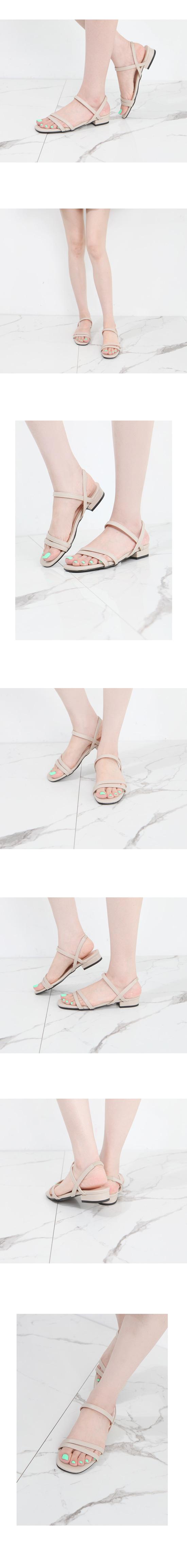 Square Toe Simple Strap Flat Sandals Beige
