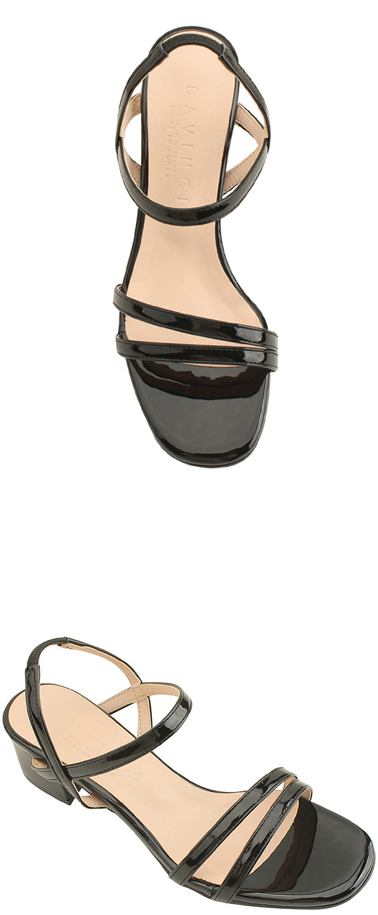 enamel banding strap middle heel sandals black