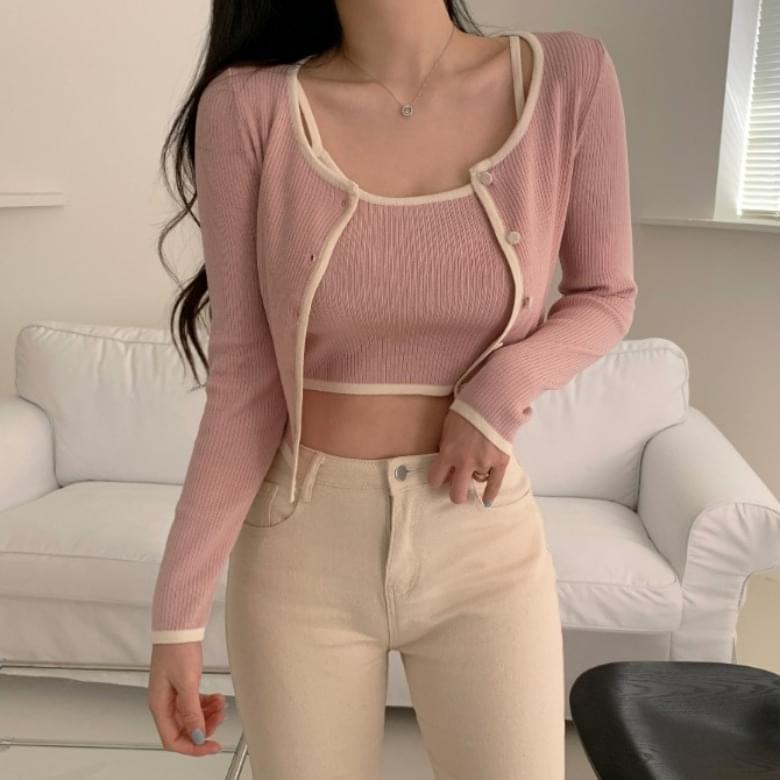 Round Simple Color Matching Knitwear Sleeveless Cardigan Set