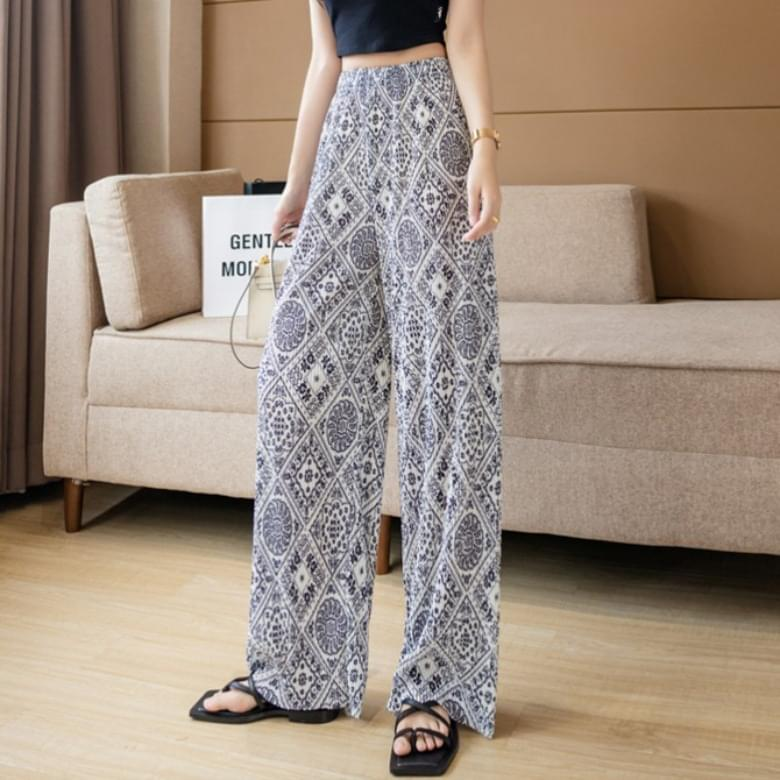 paisley banding pleated pleated trousers