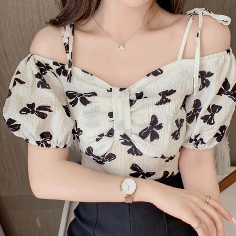voluminous ribbon floral off-the-shoulder blouse