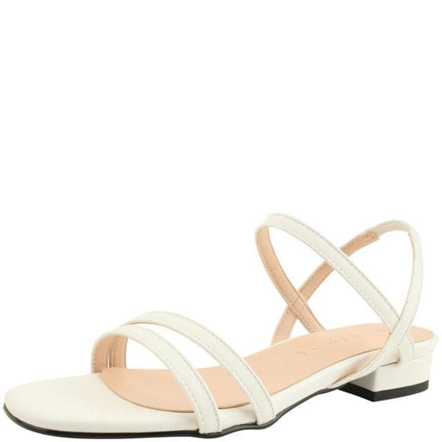 Square Toe Simple Strap Flat Sandals White
