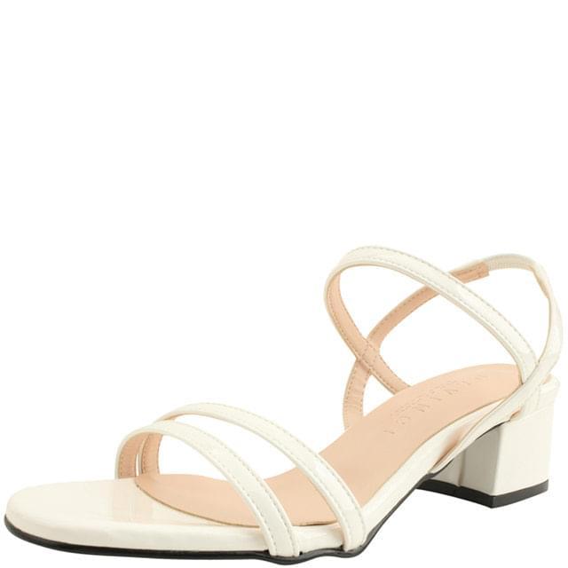 enamel banding strap middle heel sandals white