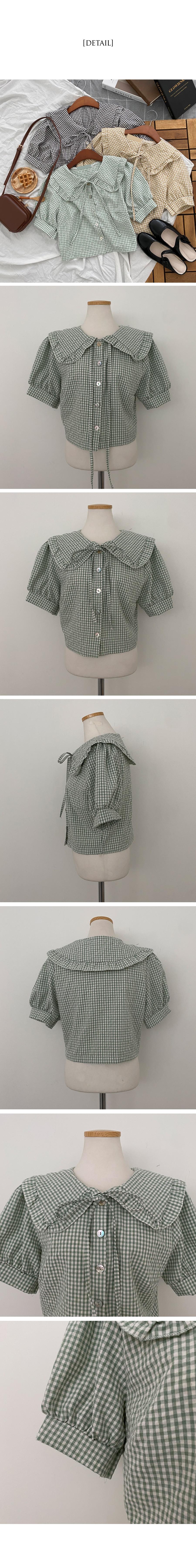 Lala big collar check short sleeve blouse