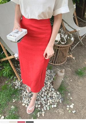 fluttering slit linen skirt