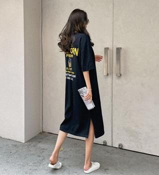 Popcorn Print Long Split Dress #37986