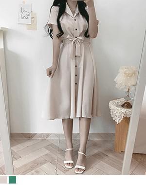 Hoyey Linen Button Collar Long Dress
