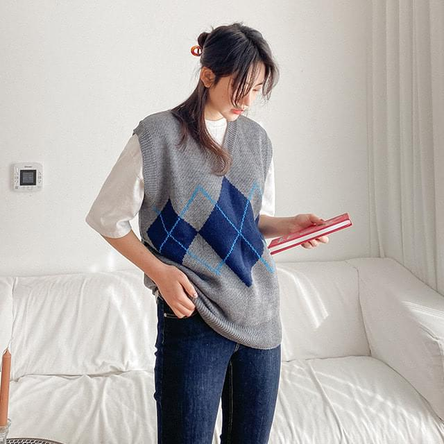Big Size 55-88 Sarah Boxy Boxy-fit Argyle Knitwear