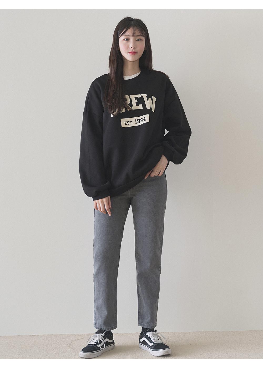 Lettering Loose-fit Fleece-lined Sweatshirt