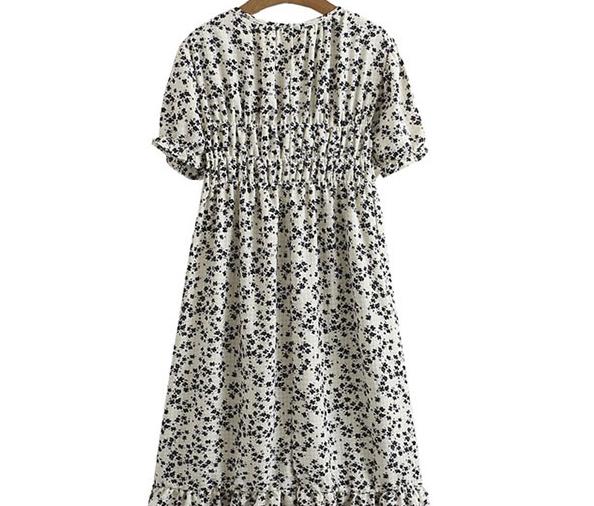 Big Size 66-120 Moni Shirring Flower Dress
