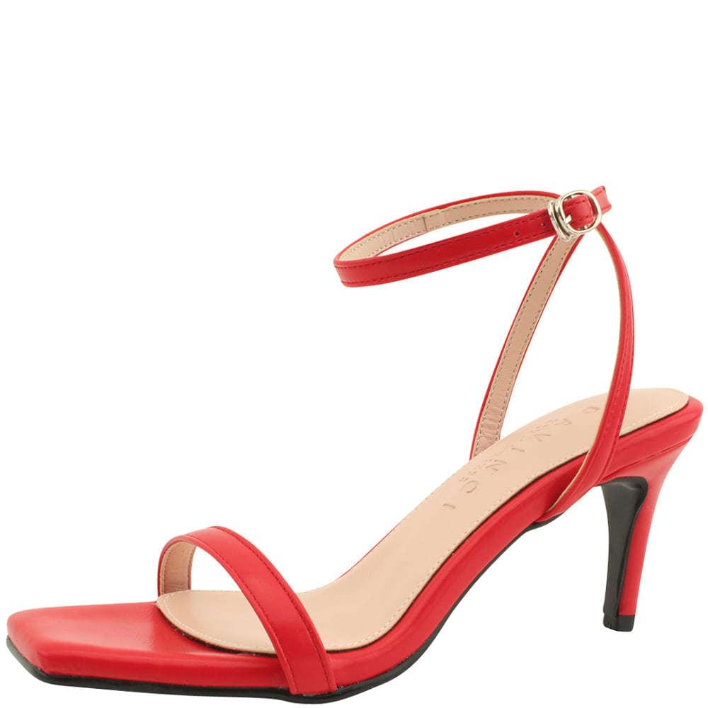 Ankle Slim Strap High Heel Sandals Red