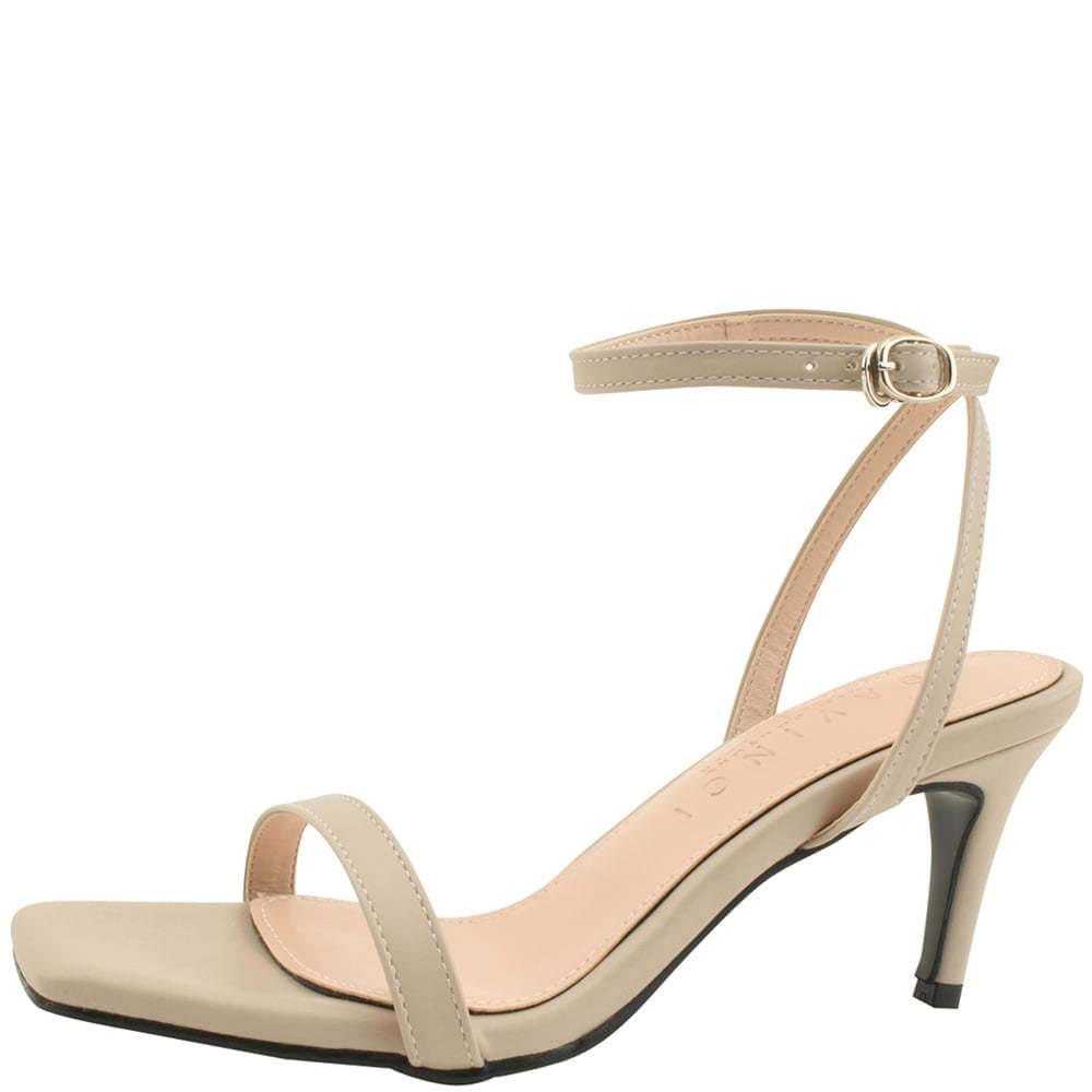 Ankle Slim Strap High Heel Sandals Beige