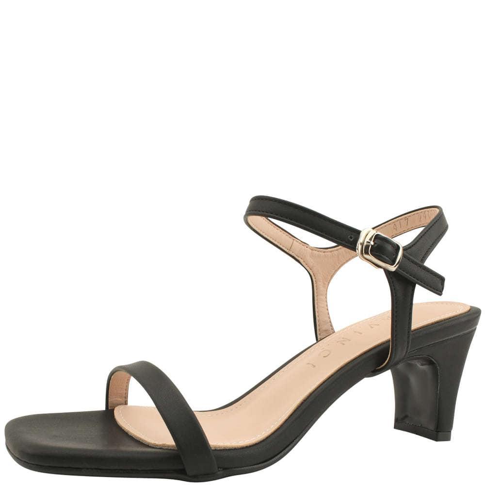 Square nose slim strap middle heel sandals black