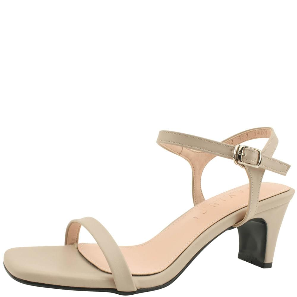 Square nose slim strap middle heel sandals beige