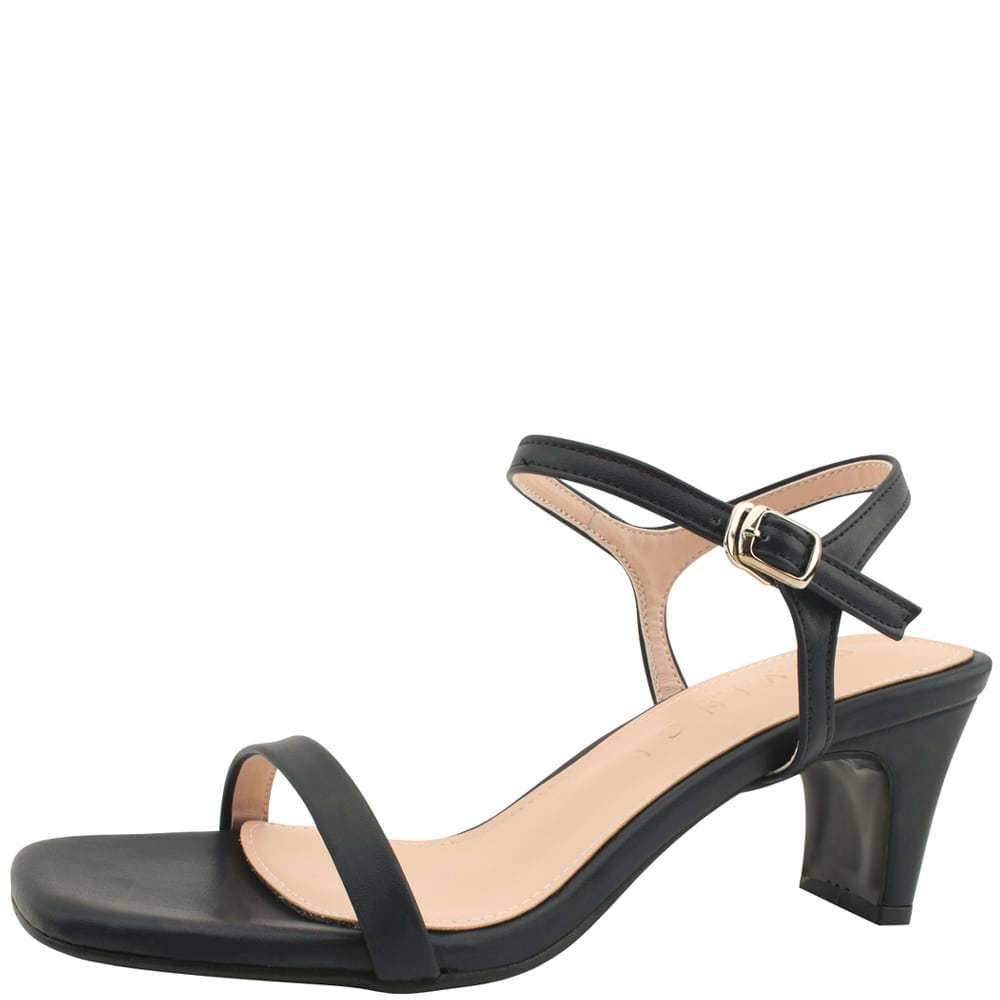 Square nose slim strap middle heel sandals navy
