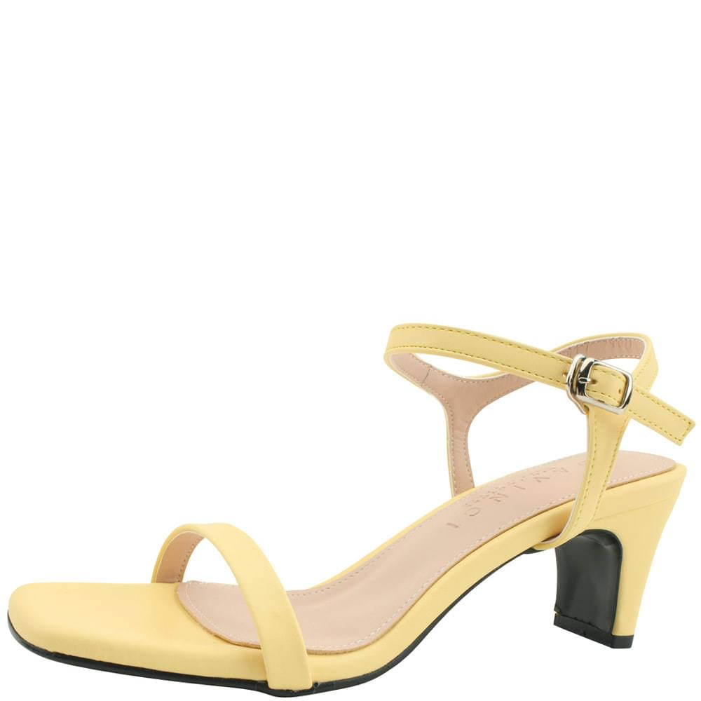 Square nose slim middle heel sandals yellow