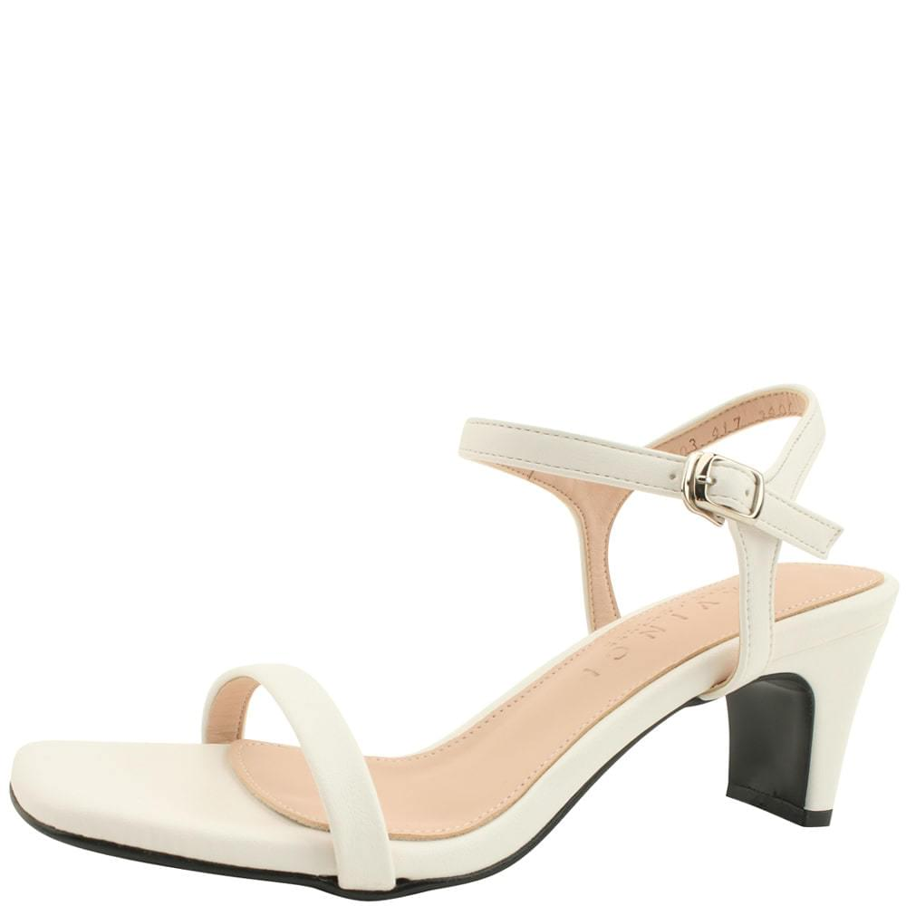 Square nose slim middle heel sandals white
