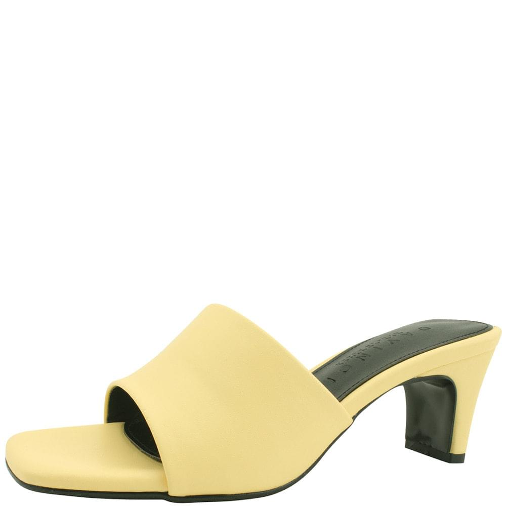 Square Nose Middle Heel Mules Slippers 6cm Yellow