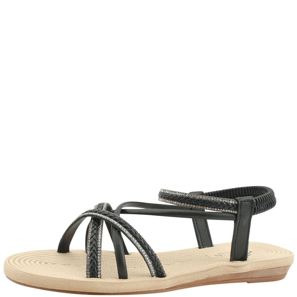 Cubic Slim Strap Flat Sandals Black