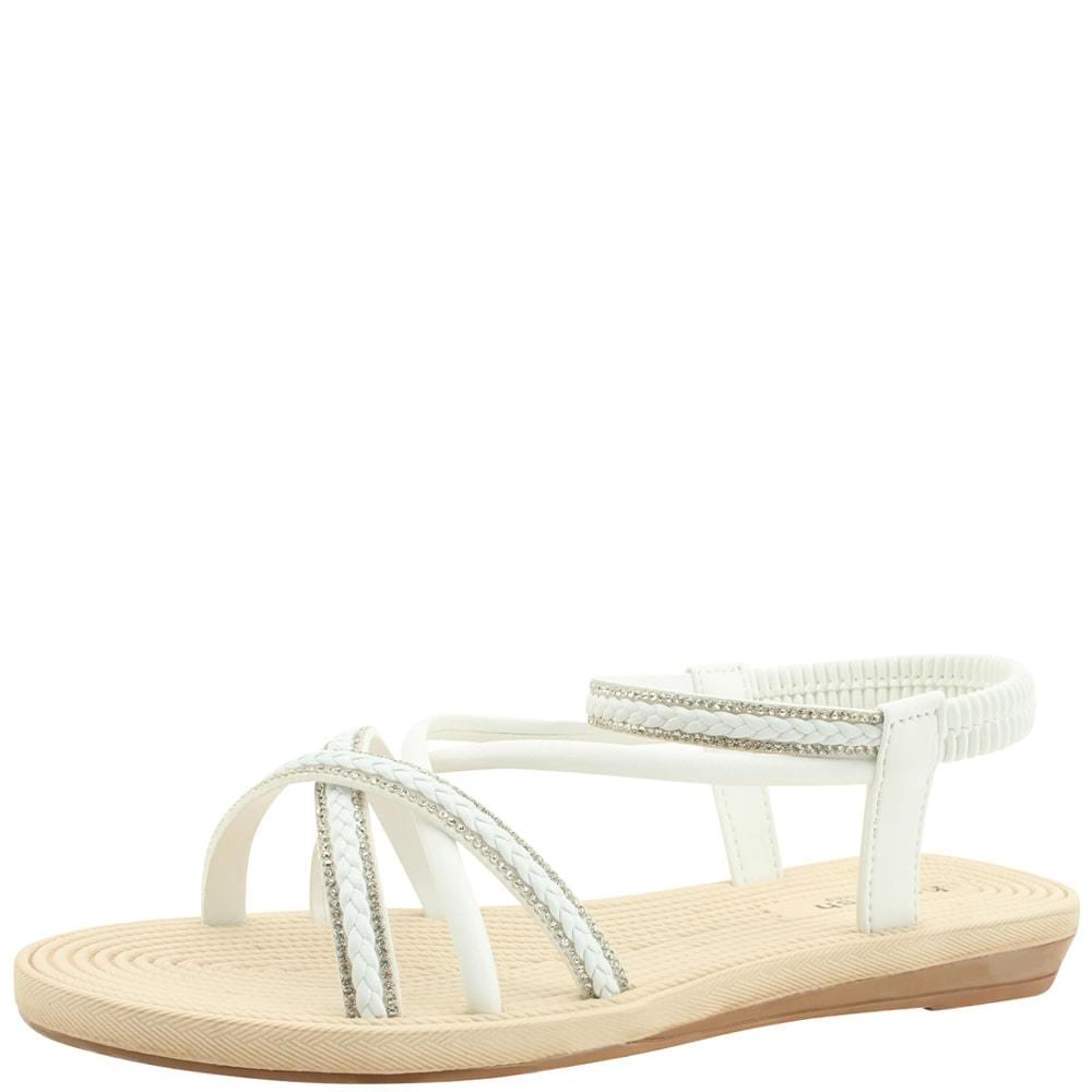 Cubic Slim Strap Flat Sandals White