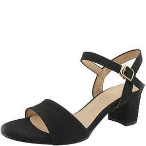 Basic Strap Middle Heel Sandals 5cm Black