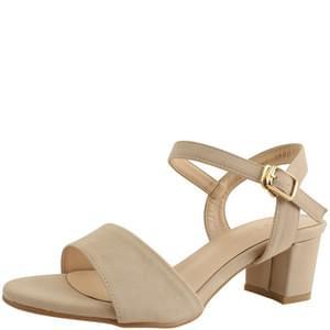 Basic Strap Middle Heel Sandals 5cm Beige