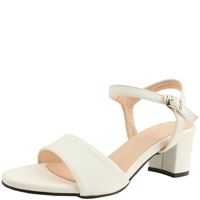 Basic Strap Middle Heel Sandals 5cm White