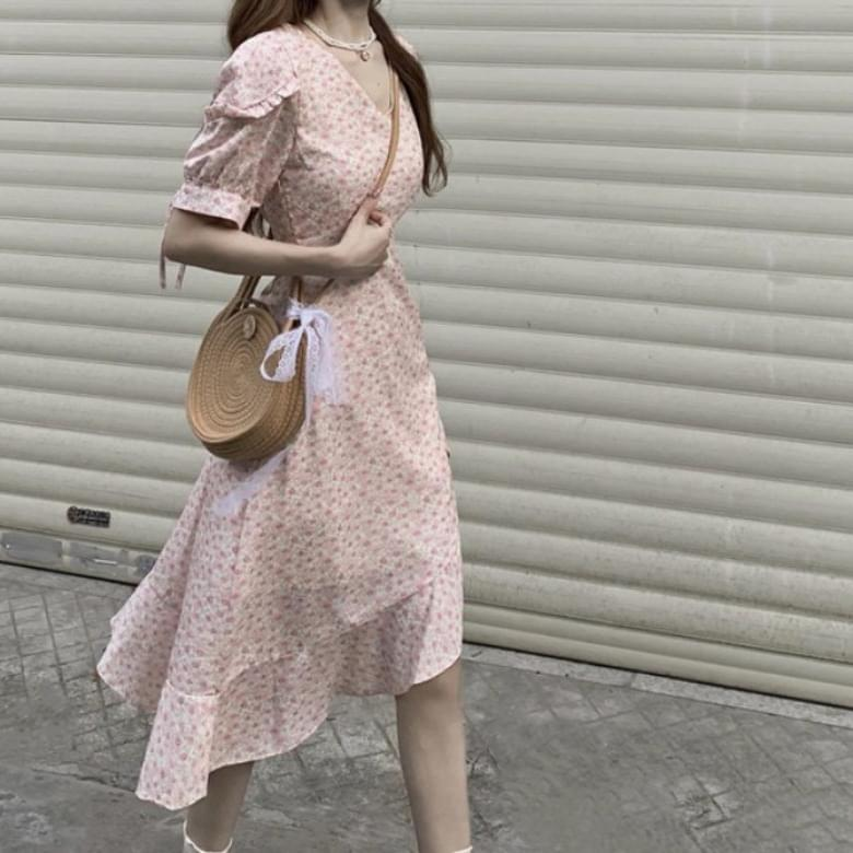 Soft Flower Ruffle Unbalanced Flower Dress