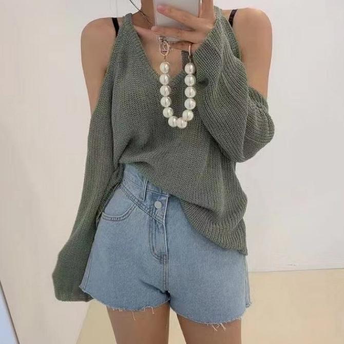 Summer Two-Way Halter Neck Split Shoulder Knitwear